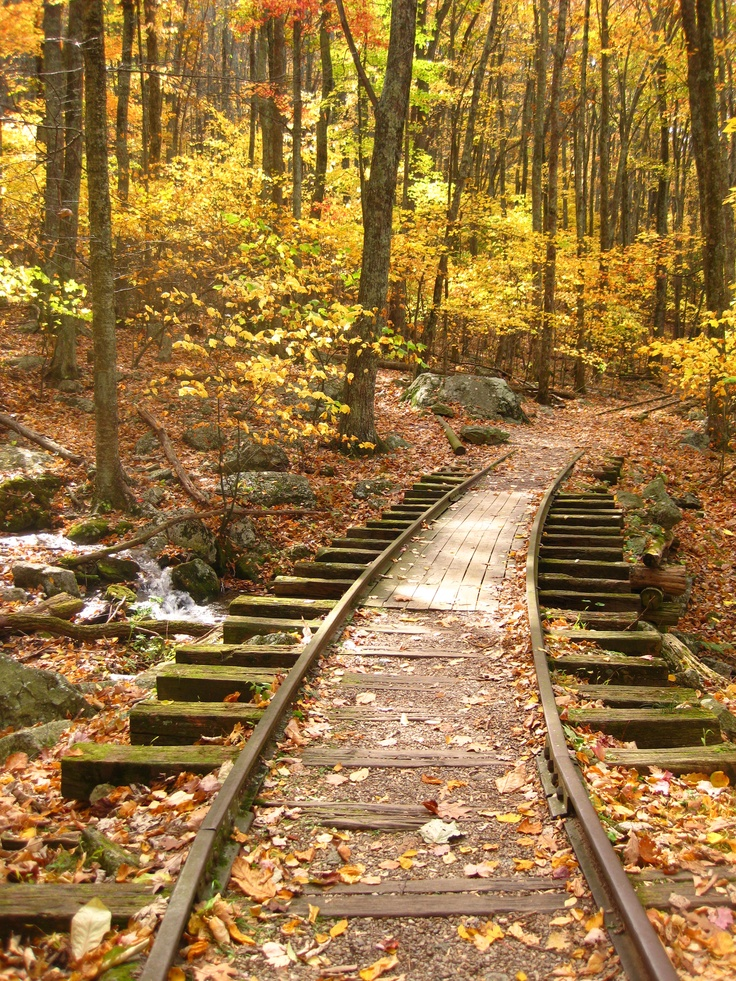 Old train tracks through the mountains.