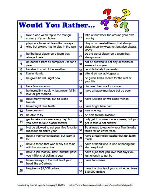 20 Would You Rather? Questions for kids. Downloaded for free from here: http://www.teacherspayteachers.com/Product/FREE-Would-You-Rather-Questions-for-Kids by Rachel Lynette