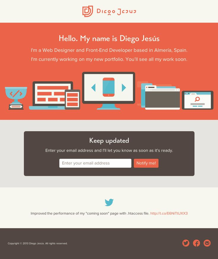 Clean, responsive and flat design in this launching soon page for designer Diego Jesús.