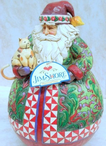Jim Shore Christmas Warmth Santa Cat Roly Poly  I love this Santa but he is so heavy.