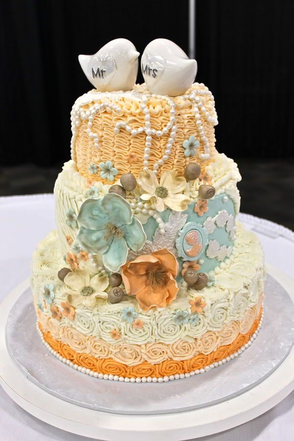 shabby chic bridal shower cakes%0A shabby chic wedding cake  mint peach wedding cake  ruffles  lace  and roses