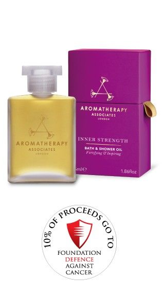 British Beauty brand Aromatherapy Associates Ltd Inner Strength Bath & Shower Oil. 10% of proceeds go to Defence Against Cancer Charity.  Aromatherapy Associates staff will be taking part in a 7 mile Charity walk on the 5th September to raise funds. Please sponsor them by donating on their Just Giving page http://prf.lk/ycx