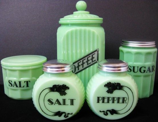 VINTAGE JADEITE KITCHEN STORAGE AND SHAKERS... http://www.collectorsquest.com/collectible/110117/beautiful-vintage-jadite-jadeite-kitchen-container-canister-set