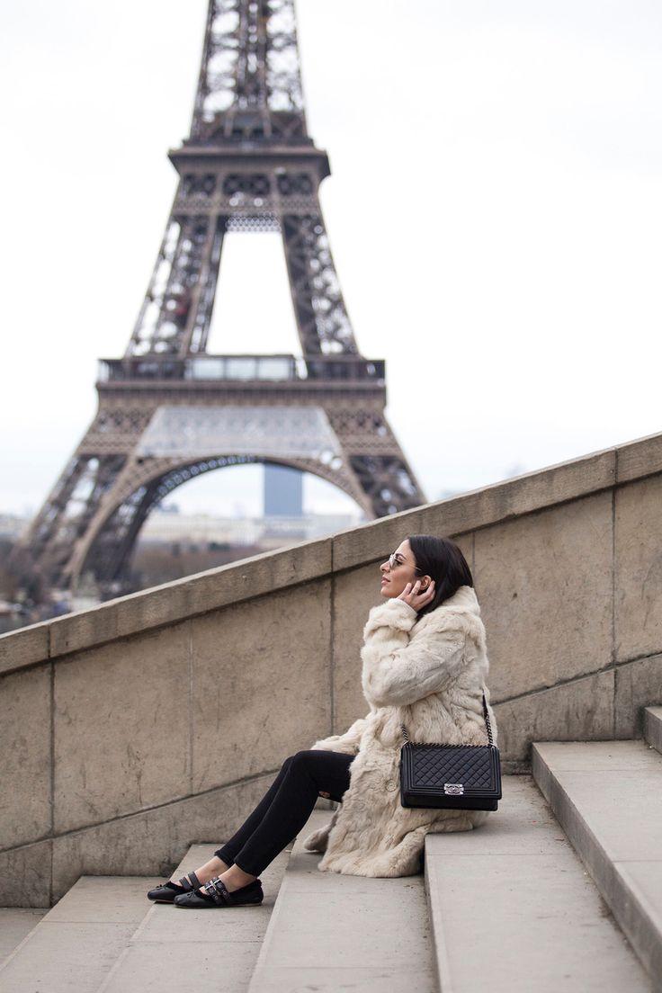 Stella Asteria, Fashion & Lifestyle blogger wearing white fur coat and Chanel boy bag