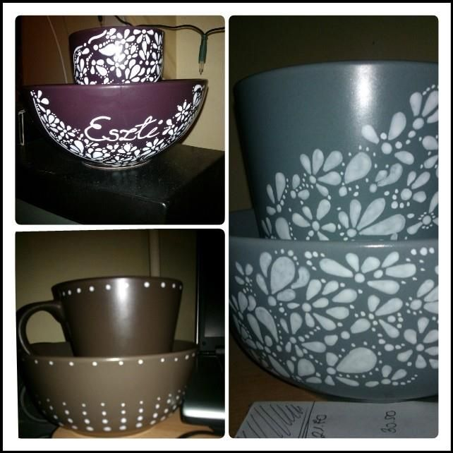 Painted bowl and mug sets