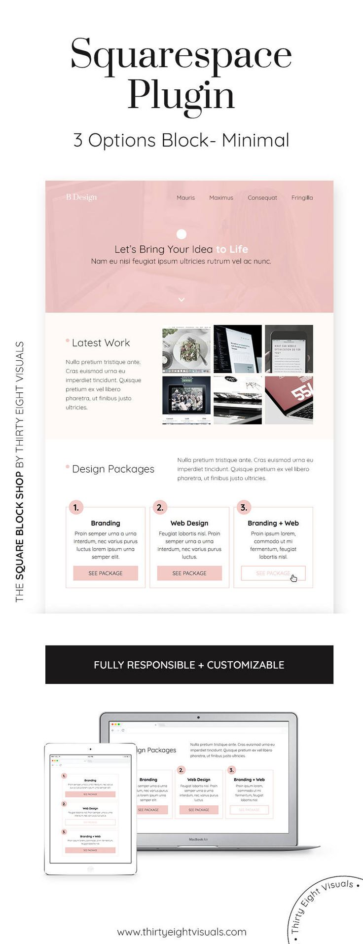 Squarespace plugin - Show your different service packages with this custom responsive block with animation. Its the perfect way to make your Squarespace site memorable! Take a look.