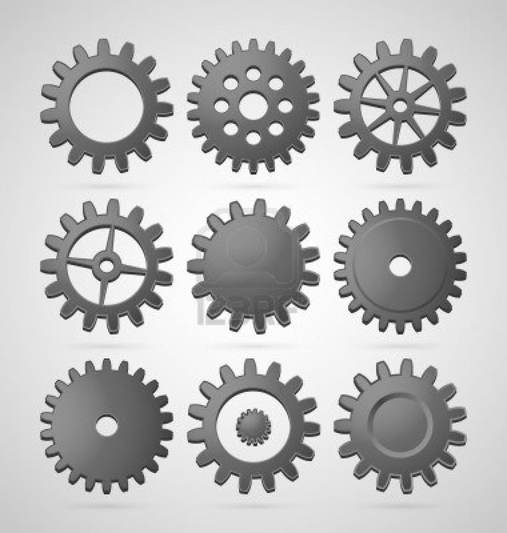 Set of steel differently shaped cogwheels Stock Photo - 15123678