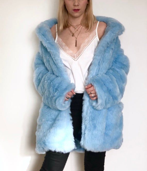 Pin By Sherlyn Morales On Cute Outfit Inspo Fluffy Jacket Blue Fur Coat Baby Blue Jacket