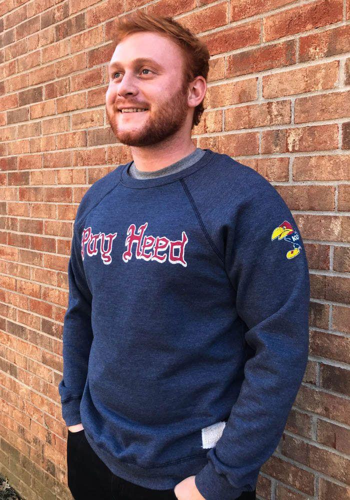 07197f33e Original Retro Brand Kansas Jayhawks Mens Navy Blue Pay Heed Long Sleeve  Fashion Sweatshirt