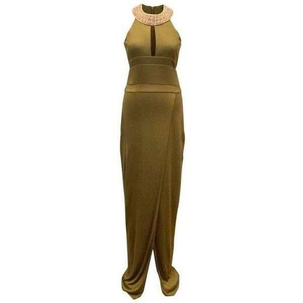 Preowned Balmain Khaki Fitted Gown With Gold Embellished Neckline ($1,104) ❤ liked on Polyvore featuring dresses, gowns, brown, evening dresses, brown dresses, gold fitted dress, brown evening gowns, gold gown and slit dress