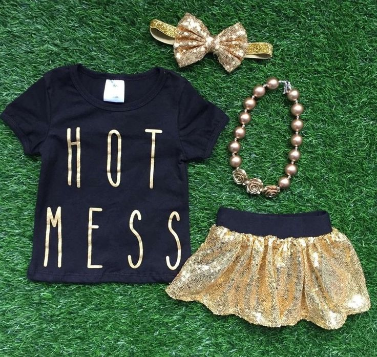 "Baby Girl Clothes ""Hot Mess"" Black Gold Sequin Short Set Toddler Girl Outfit Infant Girl Outfit Kids Clothing Girl Clothes Girl Clothing by MoxieGirlBoutique on Etsy"