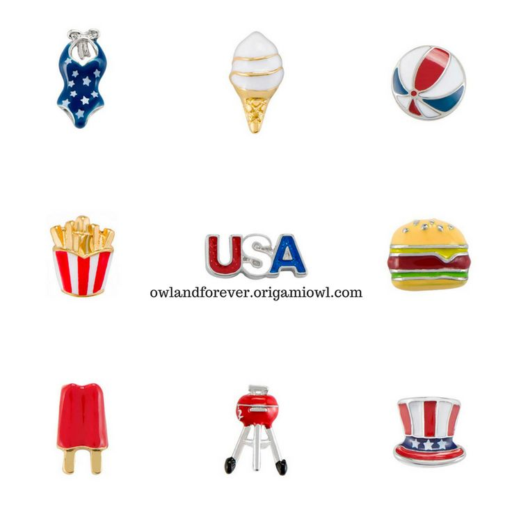 Origami Owl Summer Collection 2017 Red White and Blue and the new Large Bracelet Living Locket and Origami Owl Summe Take a peek and celebrate Fourth of July and your beach vacations with Origami Owl! Email kristy@foreversparkly.com for a free gift! Origami Owl Summer Charms 2017