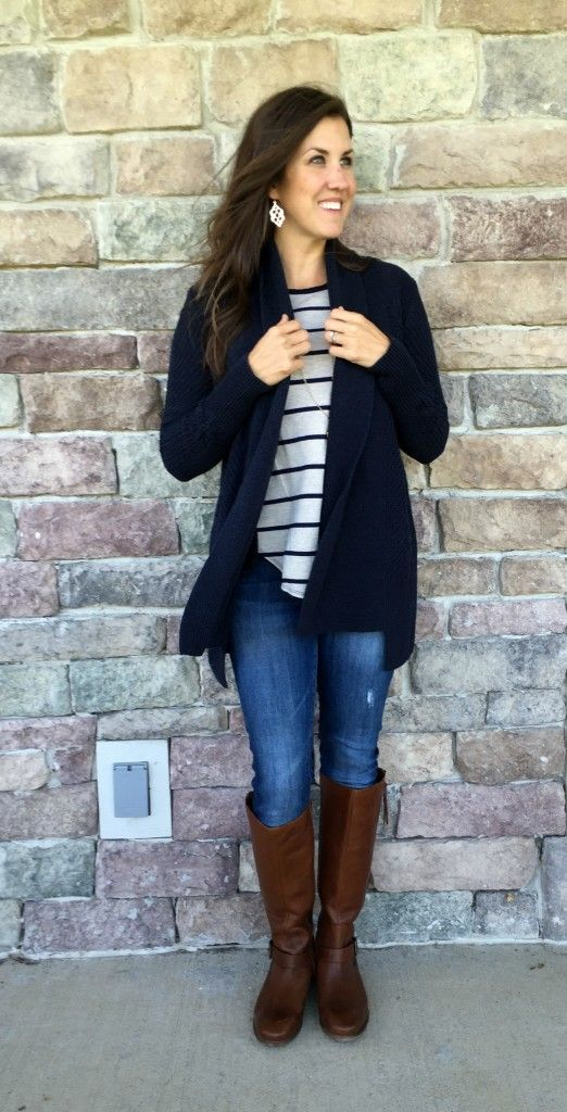 navy sweater outfit, navy cardigan outfit idea, riding boots, striped shirt outfit idea, navy striped shirt outfit idea