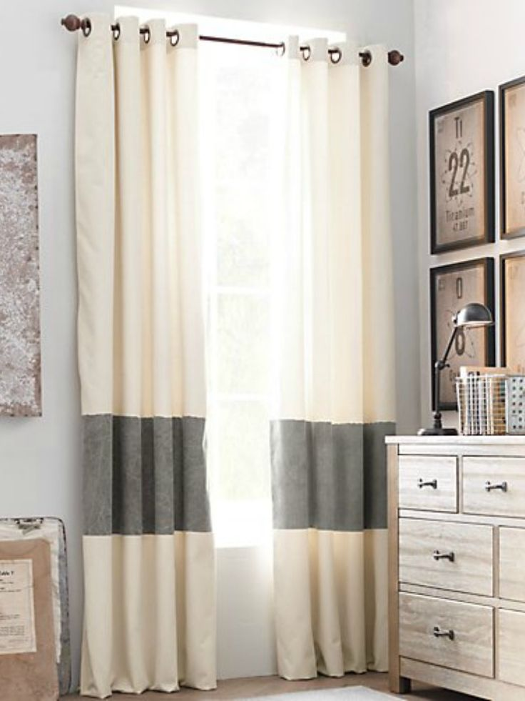 Lengthen and add color to store bought curtains by sewing a band of fabric 2/3 of the way down.