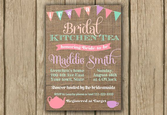 kitchen tea invite; high tea invite; afternoon tea invite; burlap invite; bunting invite; pastel sherbet invite; bridal shower invite by DulceGracePrintables