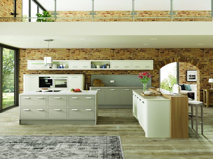 A contemporary slab in-frame kitchen painted in stone grey and snow finishes.