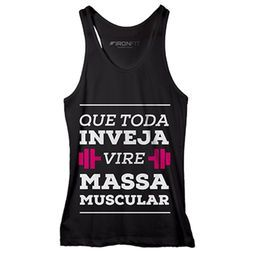 Camiseta Regata Feminina Massa Muscular - IronFit - Preto