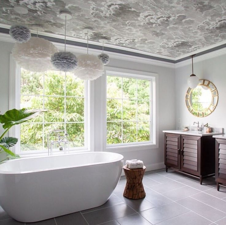 Nuvolette Wallpaper in 2020   Ceiling design, Wallpaper ...