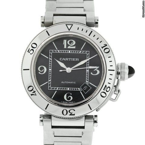 Cartier Pasha Black Dial Stainless Steel Gent's Watch