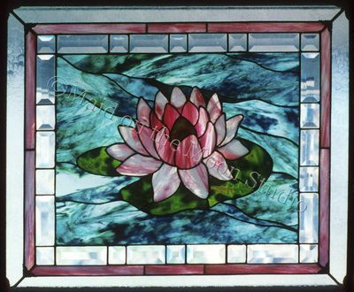 Single Water Lily stained glass panel by Maid on the Moon Studio