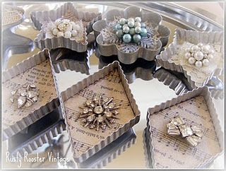 Vintage cookie cutter ornaments @Jessica Curtis  This is what I'm talking about... with ribbon and lace and glitter and yeah..