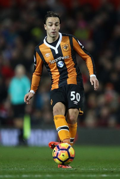Lazar Markovic Photos Photos - Lazar Markovic of Hull City passes the ball during the Premier League match between Manchester United and Hull City at Old Trafford on February 1, 2017 in Manchester, England. - Manchester United v Hull City - Premier League