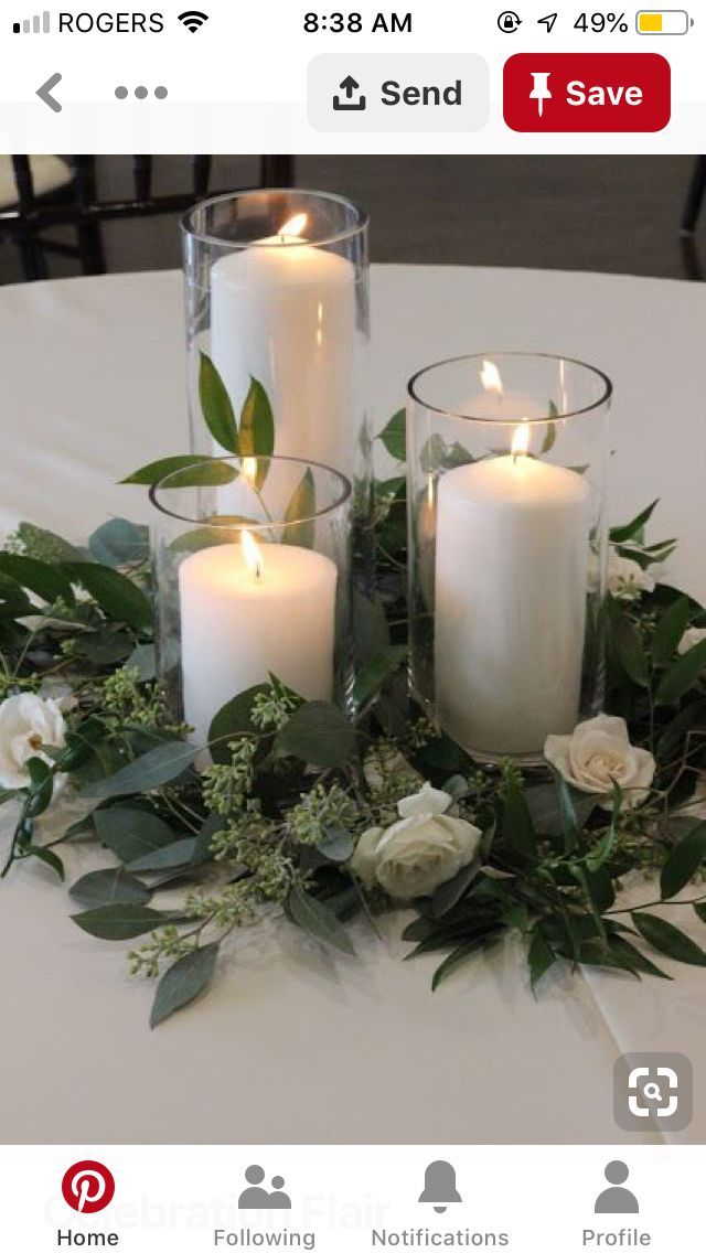 Different Sized Vases With Candles And Flowers Around Diy