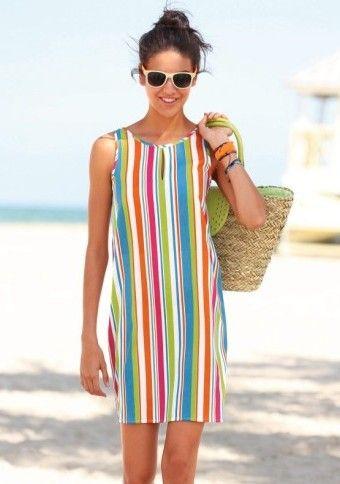 Prúžkované šaty bez rukávov #Modino_sk #modino_style #beach #beachdress #dress #colours #beachwear #sunglasses