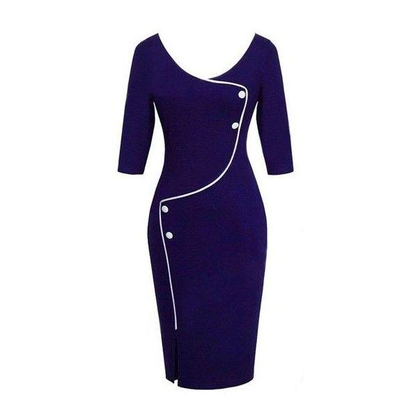 Front Slit High Waist Navy Blue OL Dress (75 BRL) ❤ liked on Polyvore featuring dresses, navy blue, three quarter length sleeve dress, navy dresses, three quarter sleeve dress, navy blue sheath dress and navy knee length dress