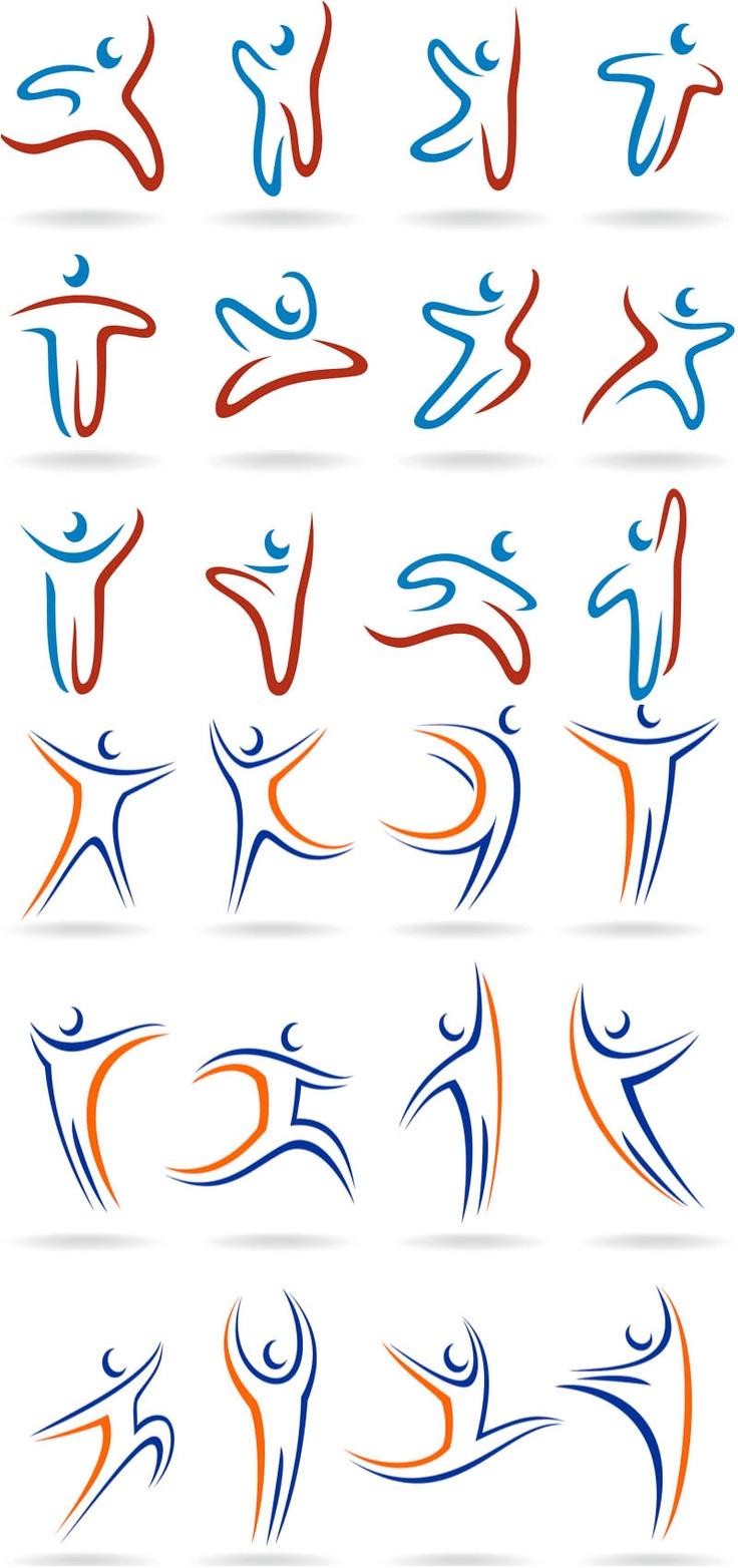 Linear human logos vector