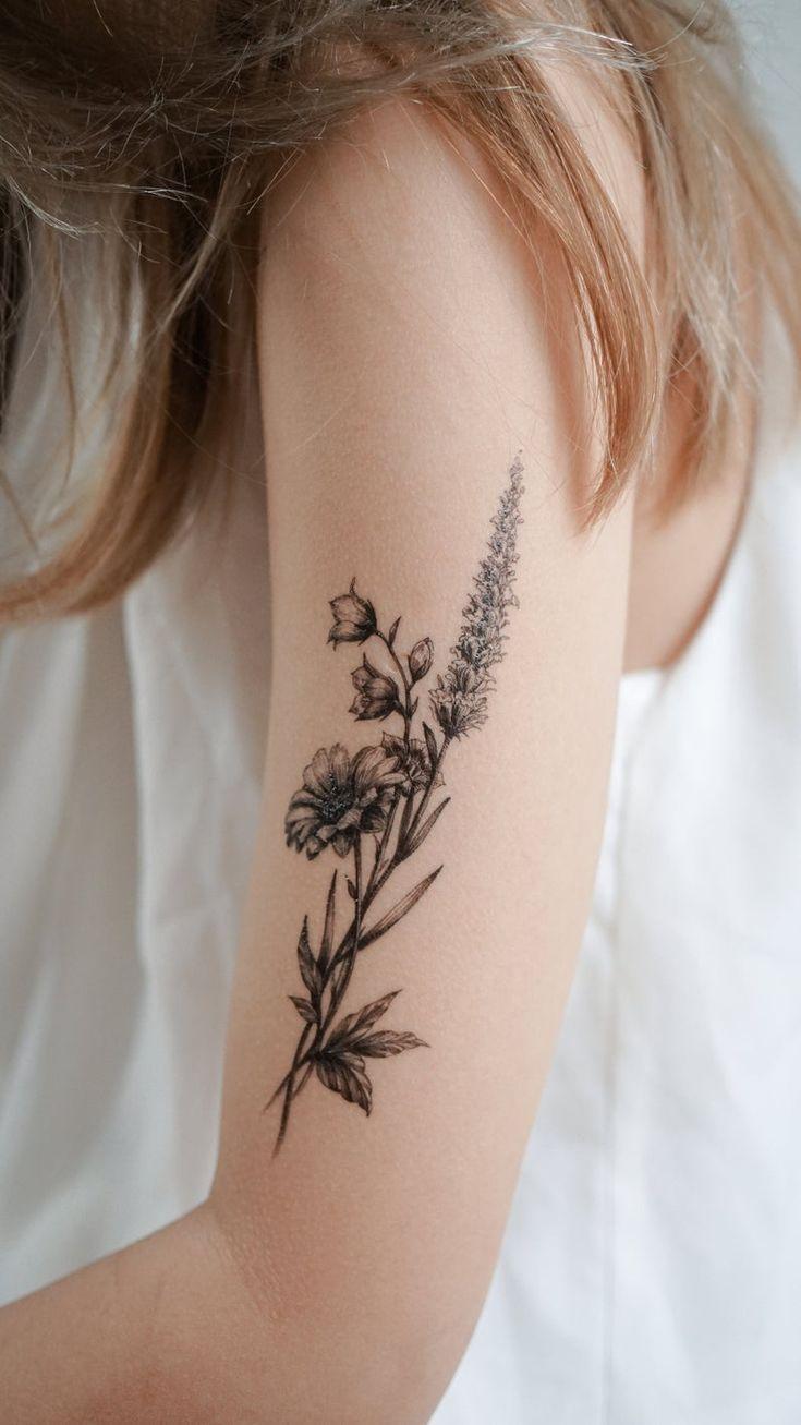 Minimal Flower tattoo Floral Tattoo Tatouage Temporaire ...