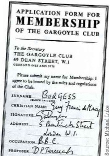 Researching The Gargoyle Club, Soho. Came across this membership application form.