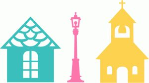 Silhouette Online Store: house lamp church combo set