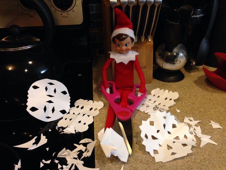 Elf on a shelf. Snowflakes.