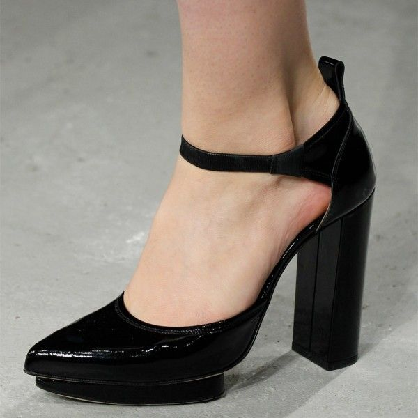 52798c126cee Black Patent Leather Back Lace up Stilettos Ankle Strap Heels Pumps for  Work