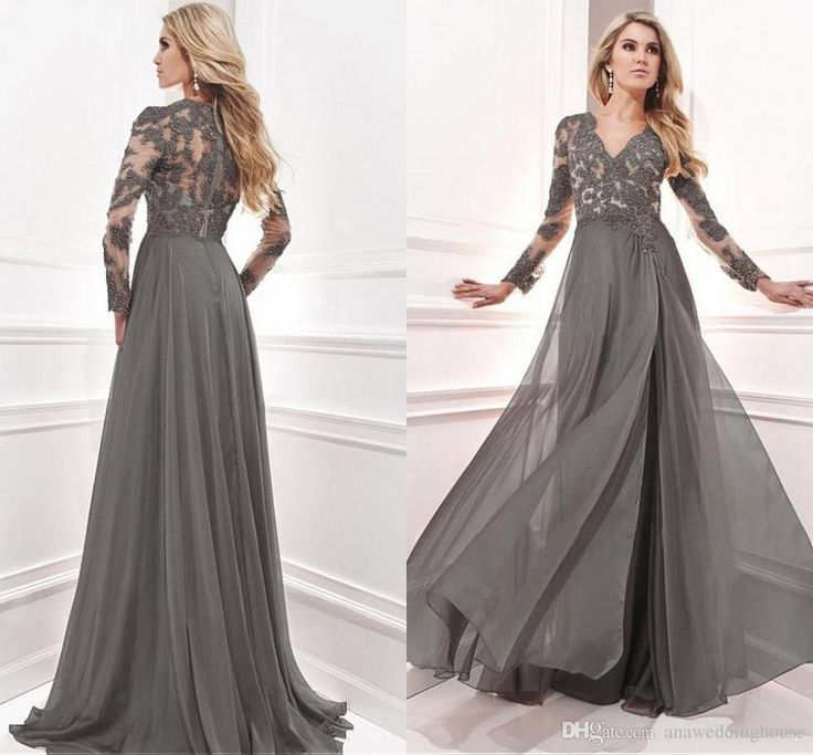 Mother Day Dresses 2015 Long Cheap Elegant Mother Of The Bride Dresses With Long Sleeves Prom Dress A Line Applique Lace Chiffon Pants Suit Wedding Mother Of The Bride Clothes From Anaweddinghouse, $125.9| Dhgate.Com