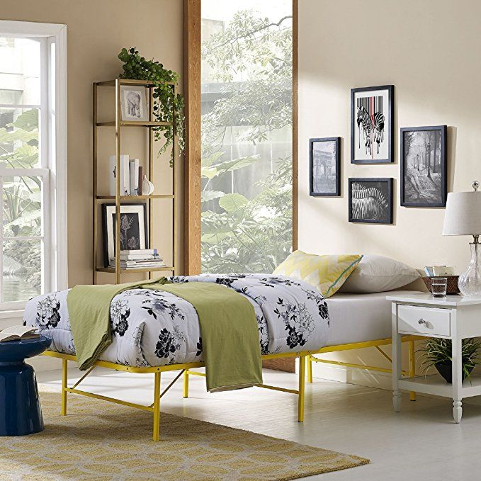 Modway Horizon Twin Bed Frame In Yellow Replaces Box Spring