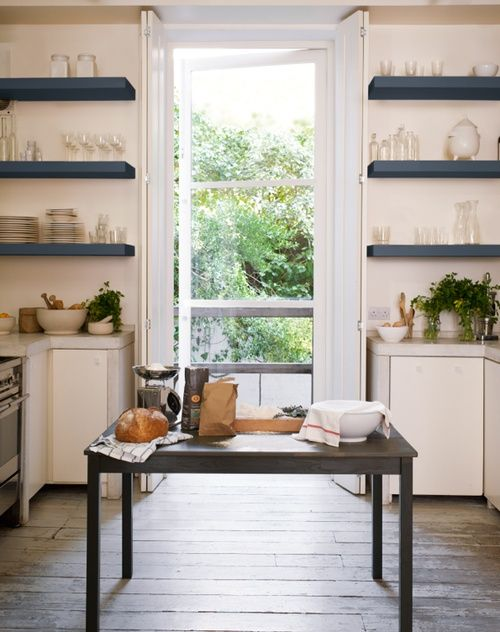 Want to do this in the kitchen with white shelves and painted walls...