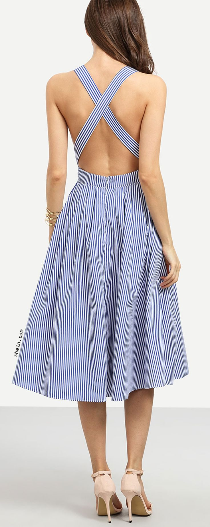 Striped Criss Cross Back Swing Dress