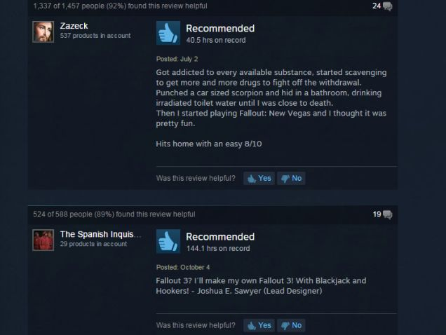 """Fallout: New Vegas, As Told By Steam Reviews // """"fallout 3 with blackjack and hookers"""" is actually pretty accurate"""