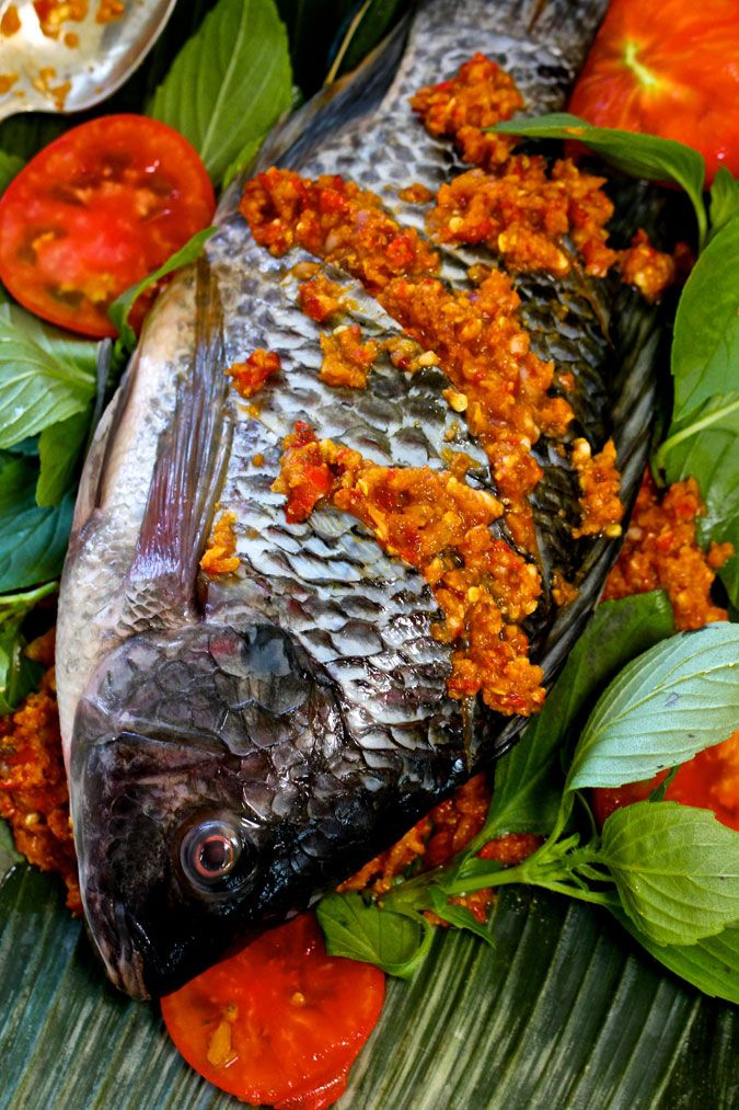 Indonesian Spicy Baked Tilapia Wrapped in Banana Leaf.