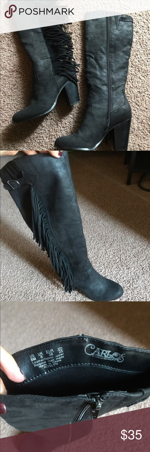 Black fringe Carlos Santana boots, size 8 Worn one time, Carlos Santana boots with fringe down outer side. Very comfortable chunky heel. Approx 2-2.5 inch heel. Suede, soft fabric. Great condition!! Carlos Santana Shoes Heeled Boots