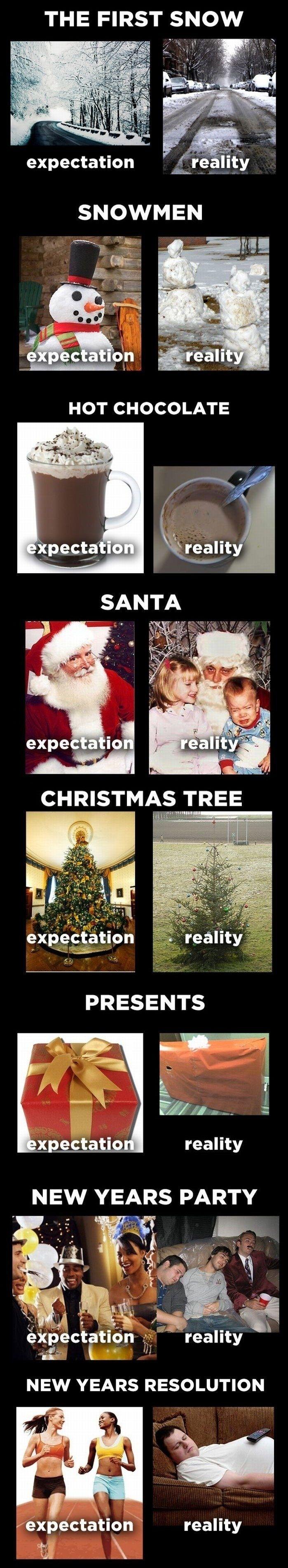 truth of the holidays.Funny Stuff, So True, Expecting Vs Reality, So Funny, Expectation Vs Reality, Happy Holiday, New Years, True Stories, The Holiday