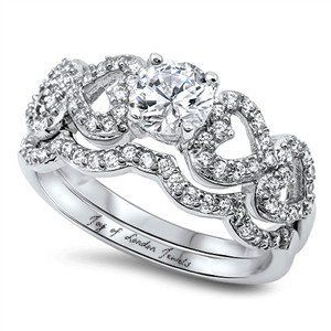 A Perfect 1CT Round Cut Russian Lab Diamond Heart Bridal Set Wedding Band Ring