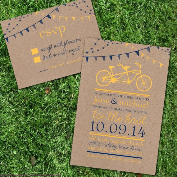 Vintage Tandem Bike Wedding invitation in Mustard Yellow and Navy