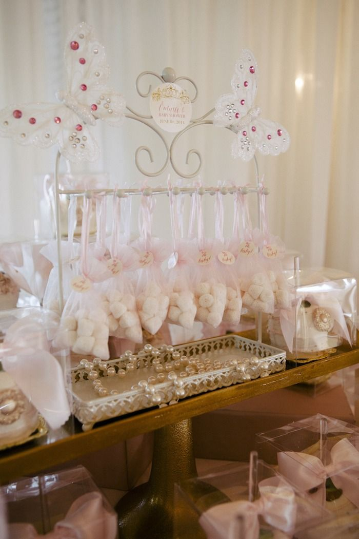 Use Jewelry Holders For Props And Fill Jewelry Bags With Candy Resembling  Pearls And Diamonds · Butterfly Baby ShowerChic ...