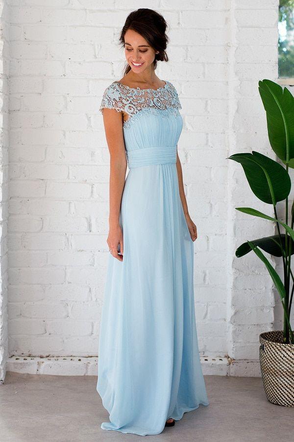 Dusty Blue Bridesmaid Dress Long Bridesmaid Dress In