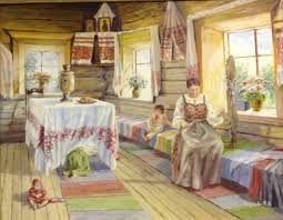 Картинки по запросу интерьер русской избы рисунки