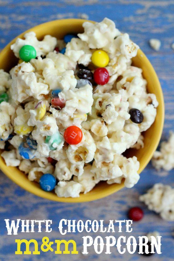Our favorite movie snack - White Chocolate M Popcorn! #popcorn