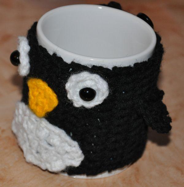 Crochet mug cover penguin, crochet cup cover penguin
